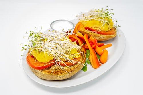 bagel melts hummus bagel